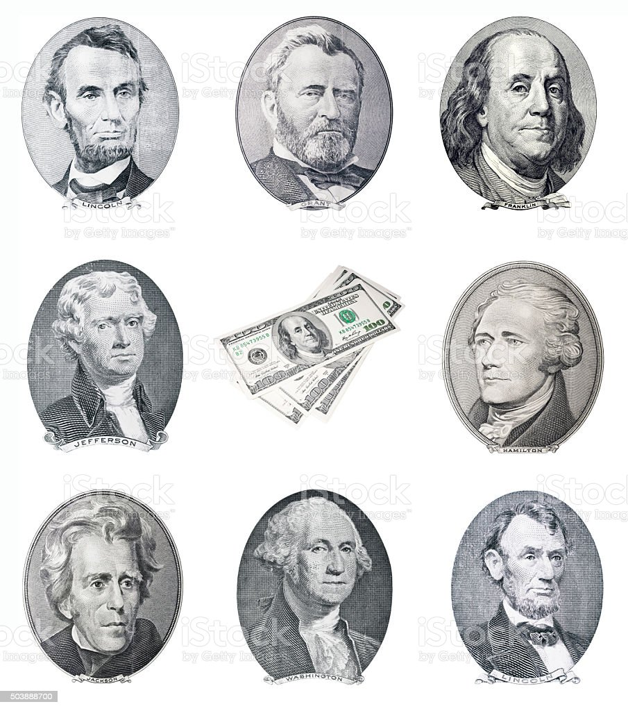 US money. Dead president portraits stock photo
