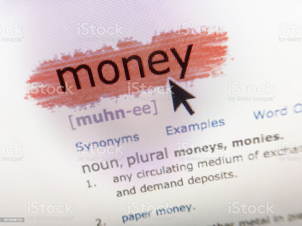 Money Definition Dictionary With Mouse Arrow On Computer Screen