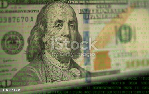 digital money and protect currency concept. dollar money with binary digits background.