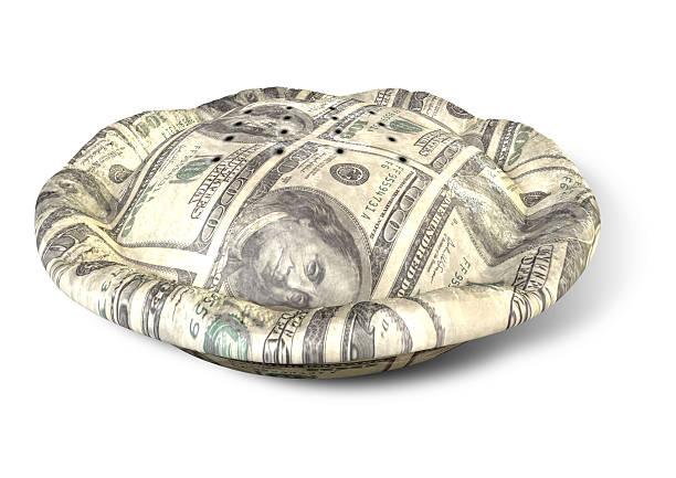 Pastel de dinero dólares perspectiva - foto de stock