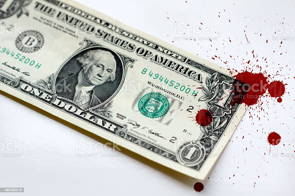 Money dollar usa in blood criminal stock photo