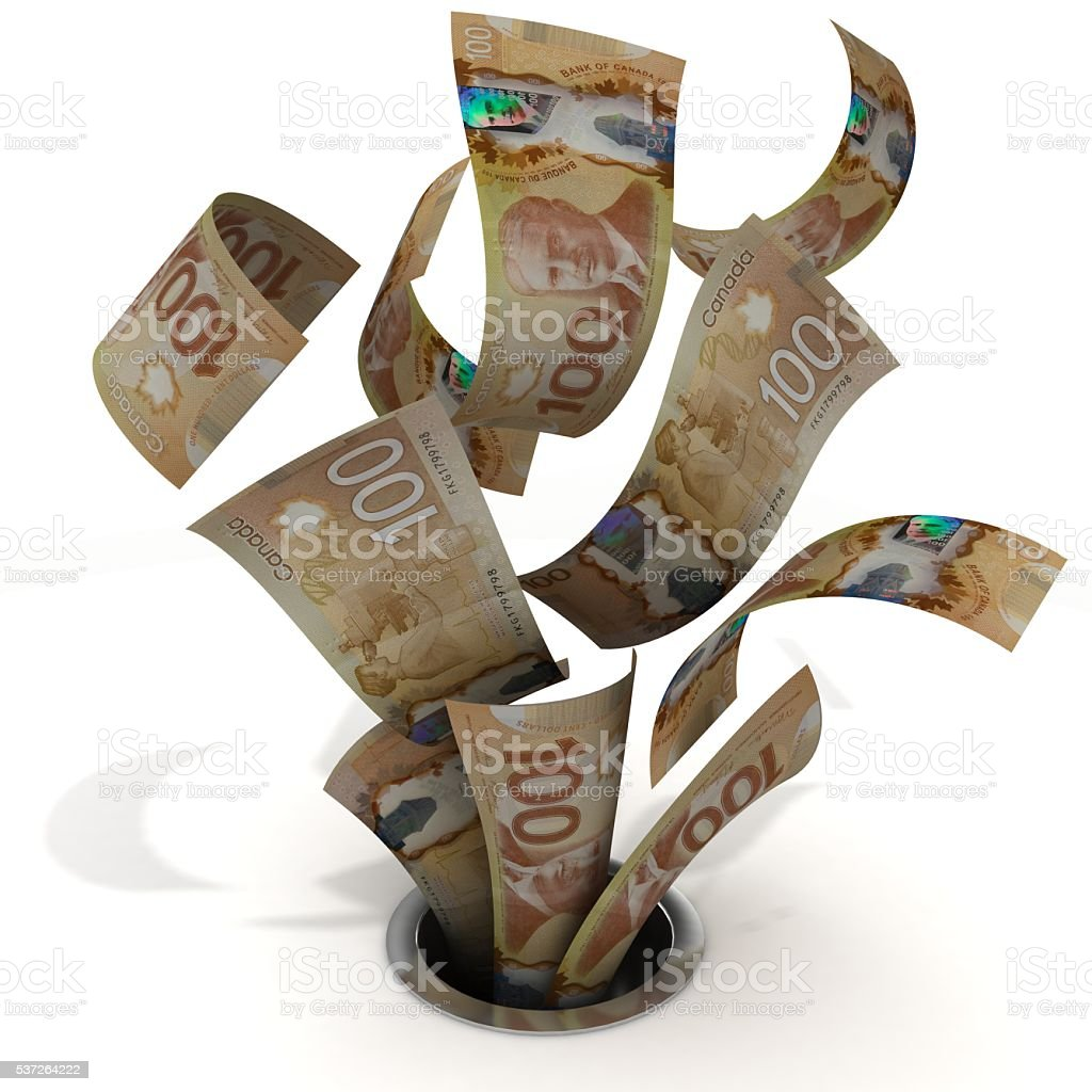 Money down the drain canadian dollar concept stock photo