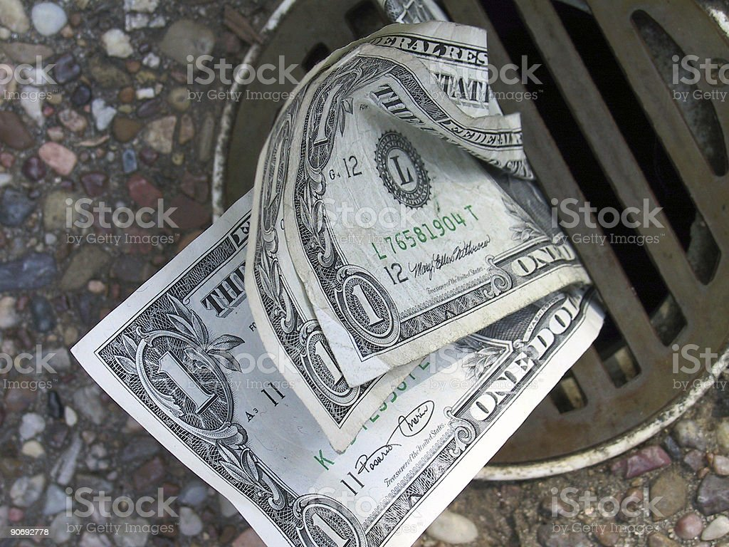 Money Down the Drain stock photo