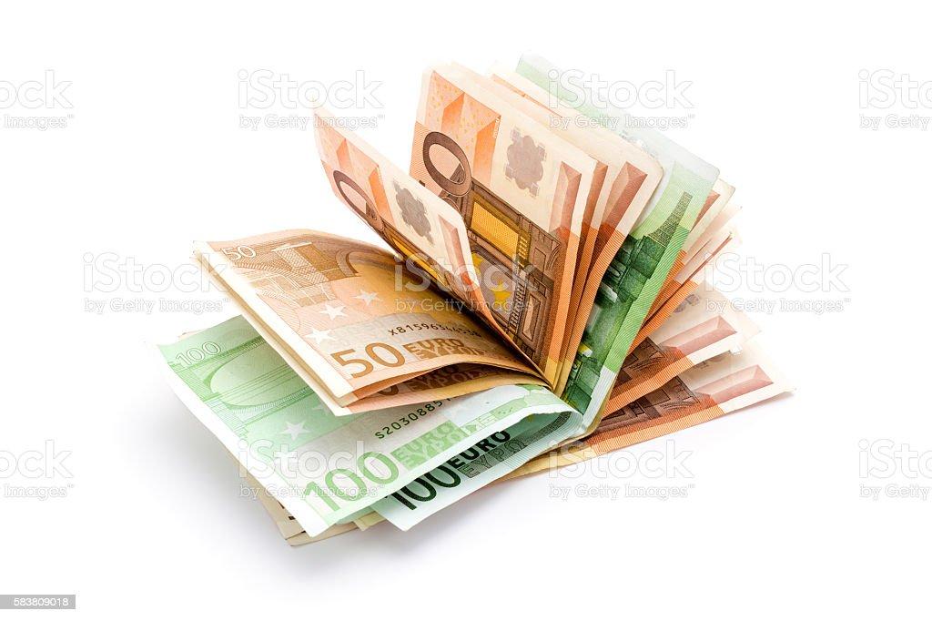 Money euro banknotes on white stock photo