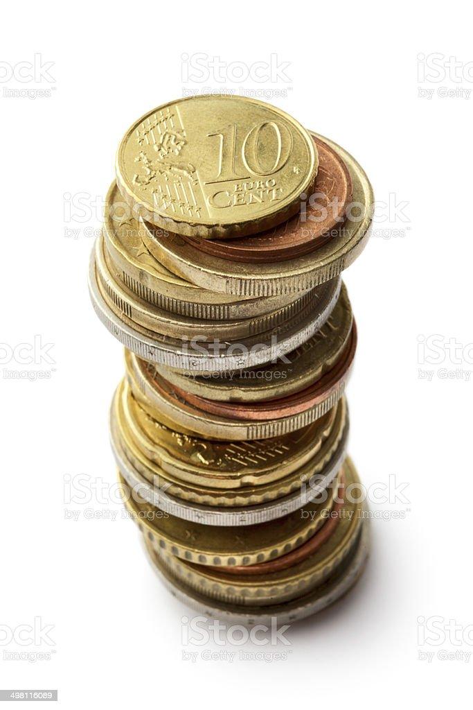 Money: Euro Coins Isolated on White Background stock photo