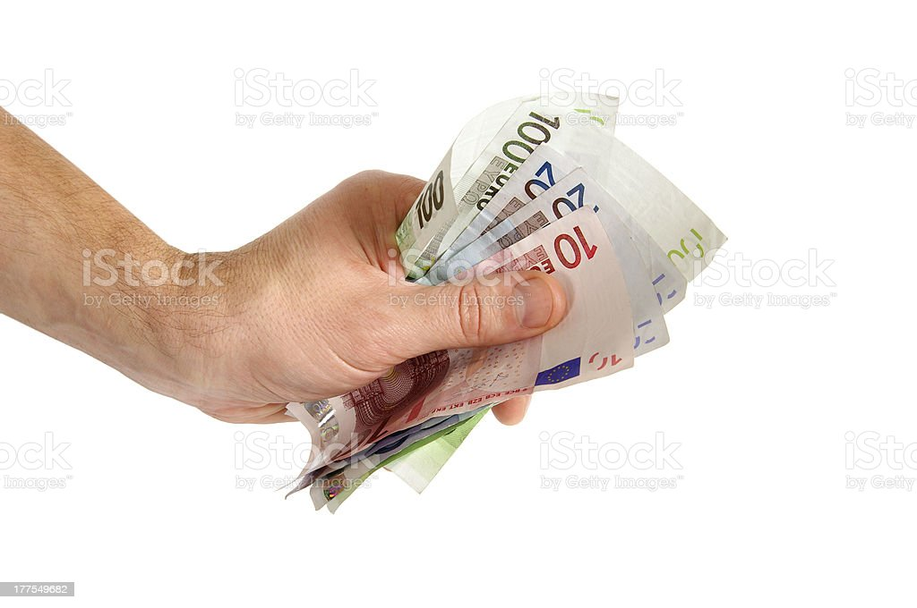 Money euro in man hand royalty-free stock photo
