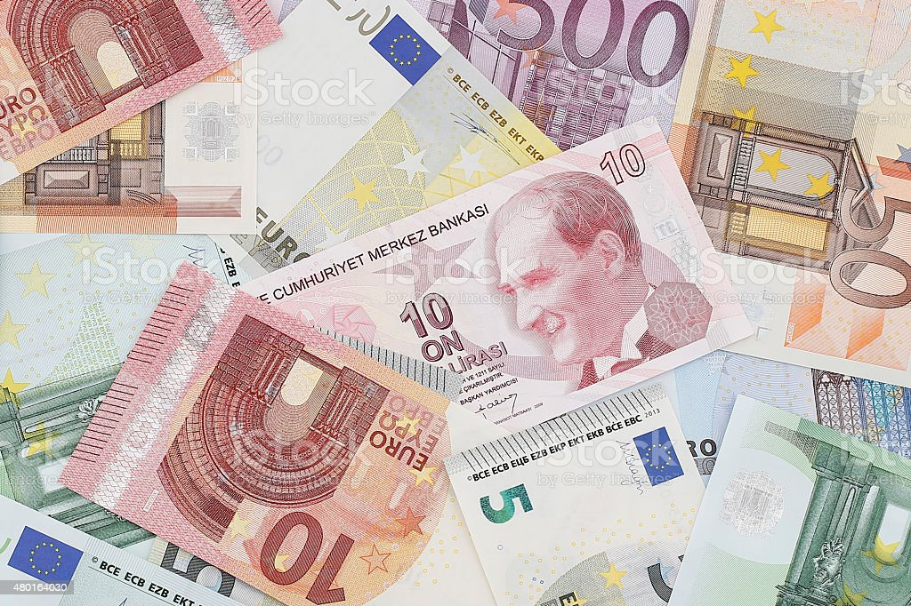 Money: European and Turkish Currency stock photo