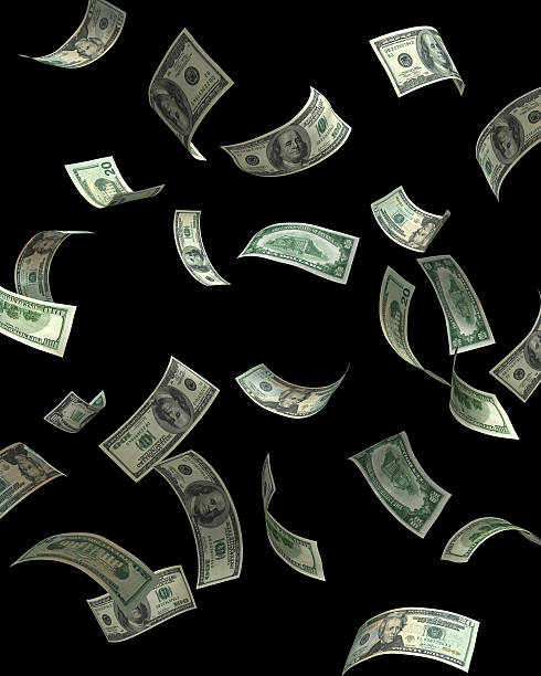 money fall - money black background stock photos and pictures