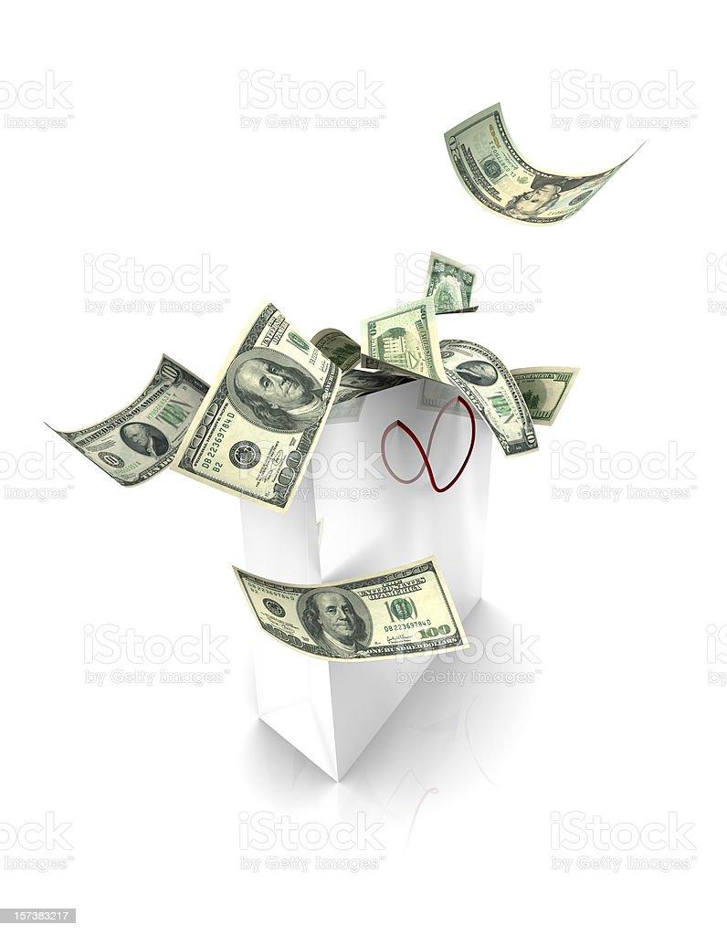 Money falling into Bag (XXL) royalty-free stock photo