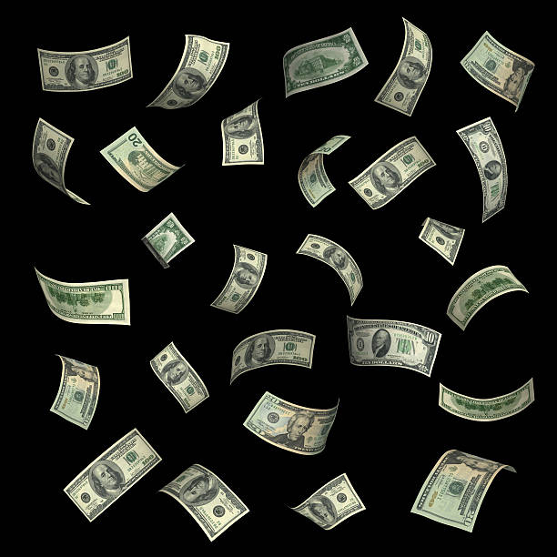 money falling(xxl) - money black background stock photos and pictures