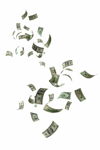 US money falling on white background.
