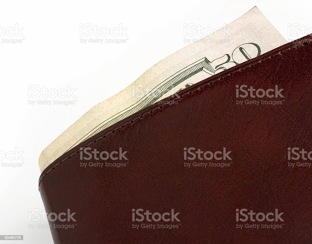 Money Filled Leather Wallet Showing $50 US Currency stock photo