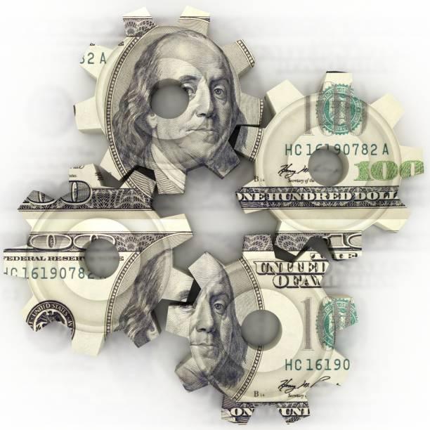 rueda dentada de engranaje de finanzas dinero - accesorio financiero fotografías e imágenes de stock