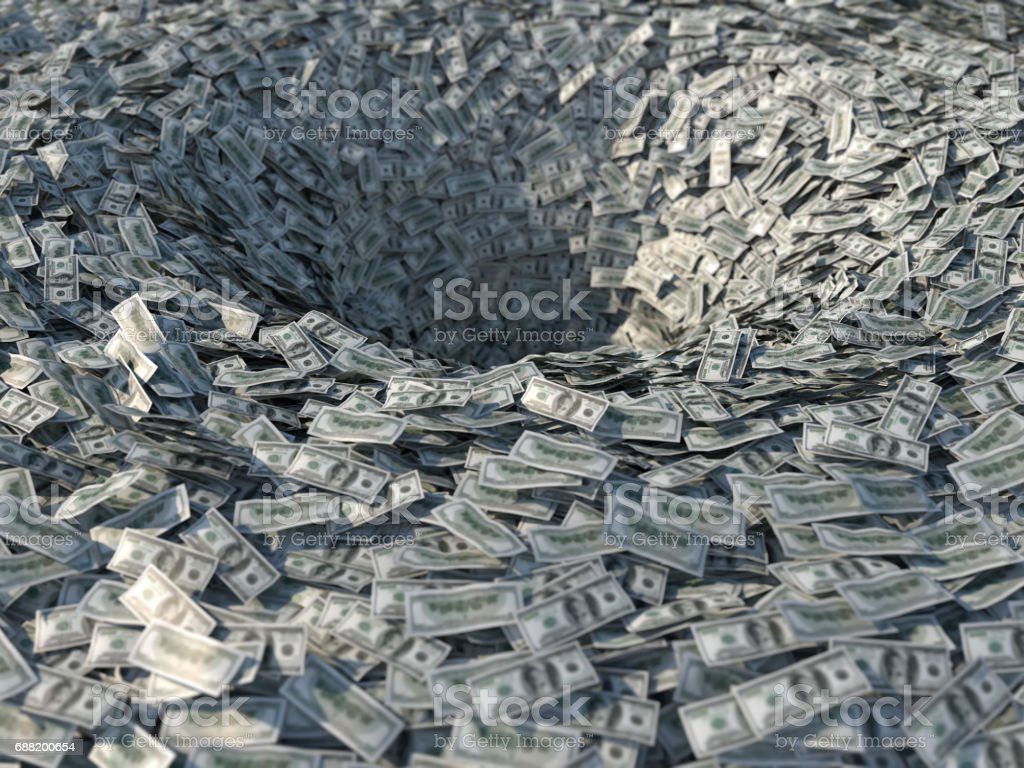 Money flows into a bottomless funnel stock photo