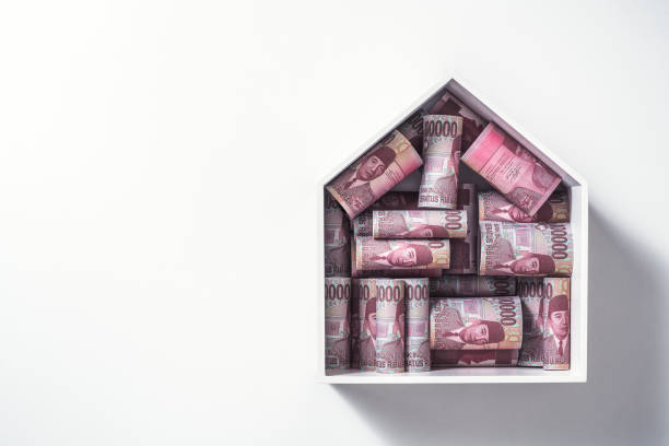 Money for a house, Indonesian rupiah stock photo