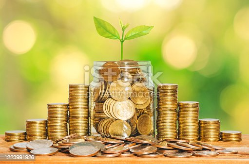 istock money for business investment finance and banking concept. green plant leaves growth up on row of saving coin stack on wood table with green blur nature background. 1223991926