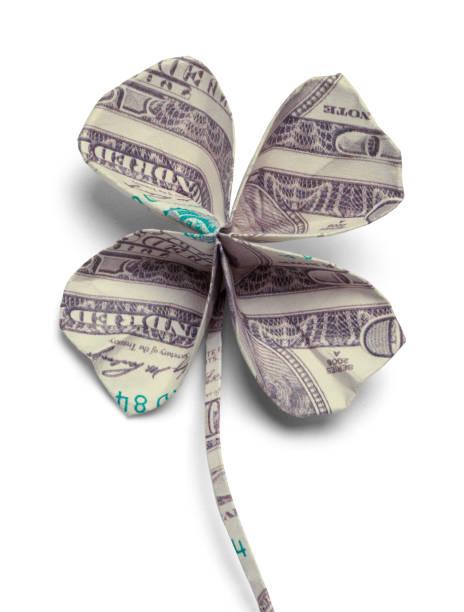 feuille de trèfle à quatre d'argent - bonne chance photos et images de collection