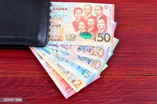 Money from Ghana in the black wallet