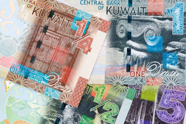 money from kuwait, a background - kuwait currency stock photos and pictures