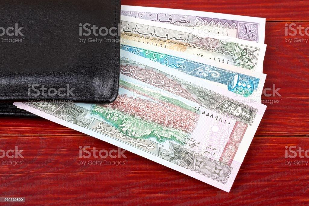 Dinheiro de Liban na carteira preta - Foto de stock de Carteira royalty-free