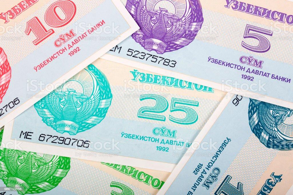 Money from Uzbekistan, a background - Foto stock royalty-free di Affari