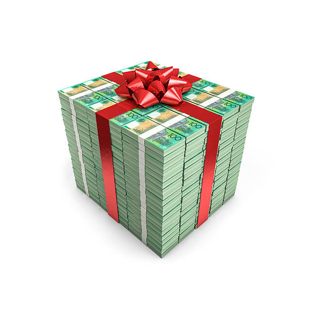 Money gift Australian dollars stock photo