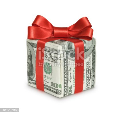 Money gift box with red ribbon, one hundred dollar bill, isolated on a white background