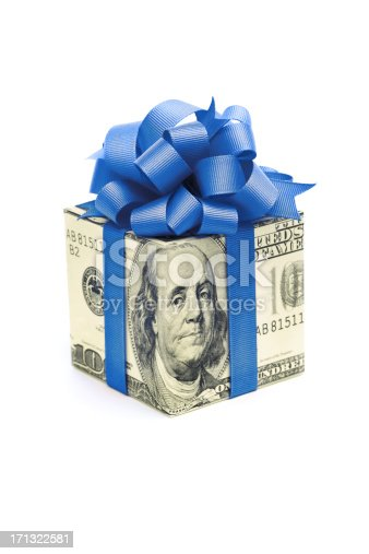 istock Money Gift of Dollar Bill with Blue Ribbon on White 171322581