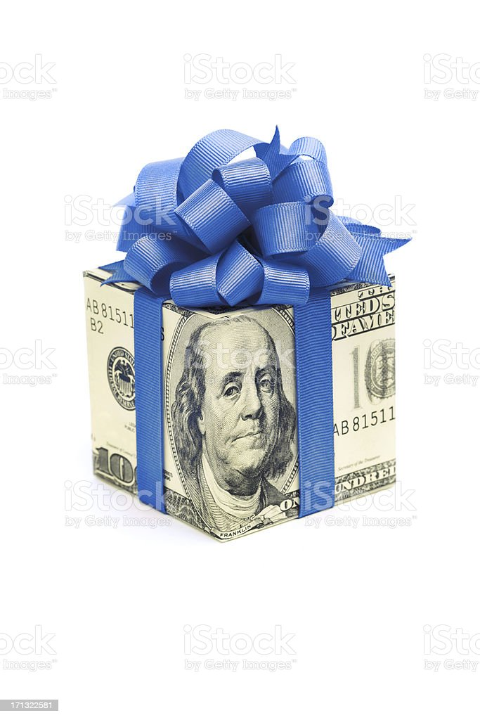 Money Gift of Dollar Bill with Blue Ribbon on White stock photo