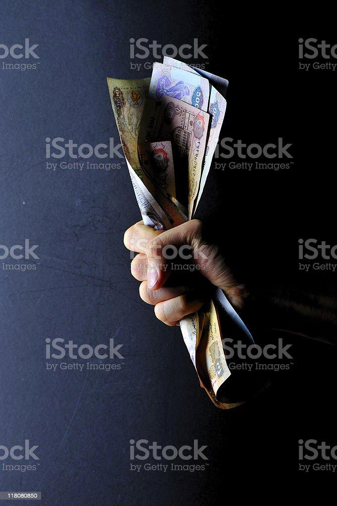 money grabbed stock photo