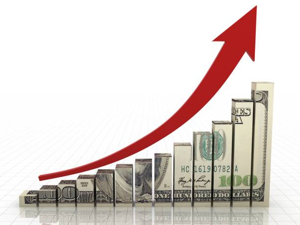 Money graph stock market finance growth chart stock photo