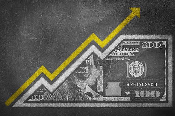 money growth graph on a chalk board - inflation stock-fotos und bilder