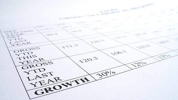 Money growth report stock photo
