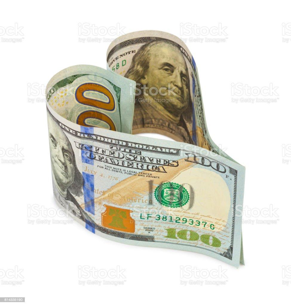 Money heart stock photo