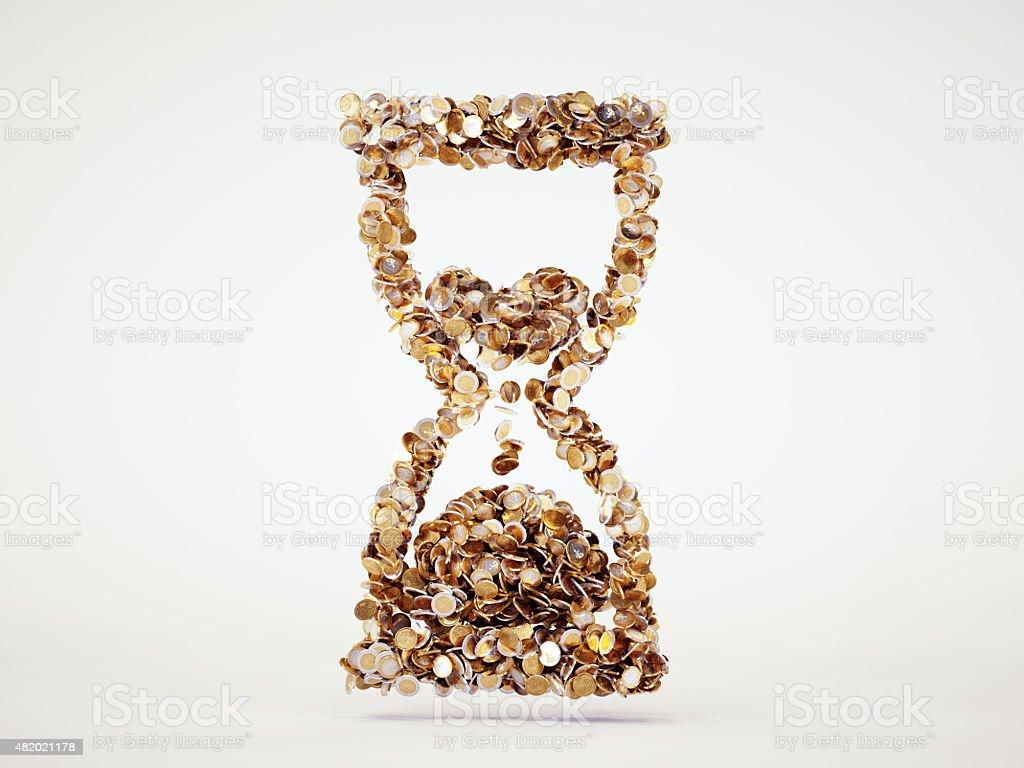 Money hourglass sign stock photo