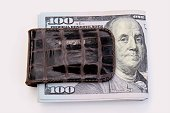 Money: hundred dollar bills in money clip