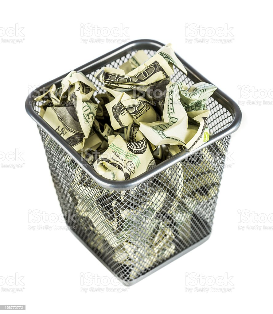 Money in a basket royalty-free stock photo