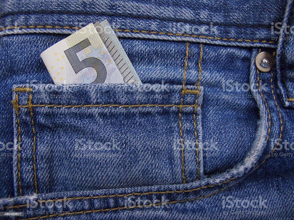 Geld in der jeans-Tasche – Foto