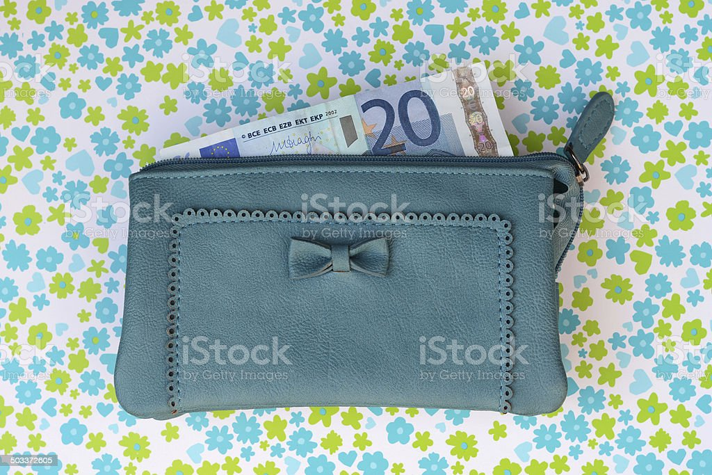 Blue wallet with money