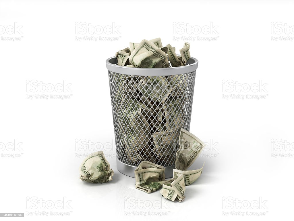 Money in basket. Isolated over white stock photo