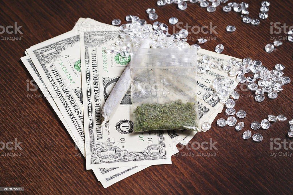 Money in drugs stock photo