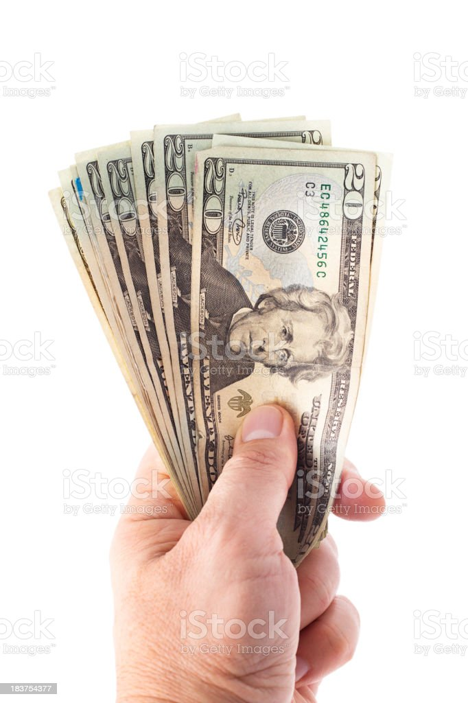 Money In Hand with path stock photo