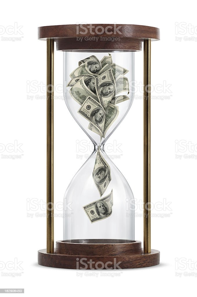 Money in Hourglass Time is money: One hundred-dollar bills flowing down in the hourglass. American One Hundred Dollar Bill Stock Photo