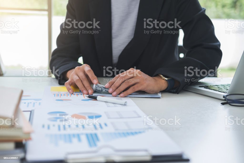 Money in human hands form of dollar bills, Business woman is counting money - Royalty-free Accountancy Stock Photo