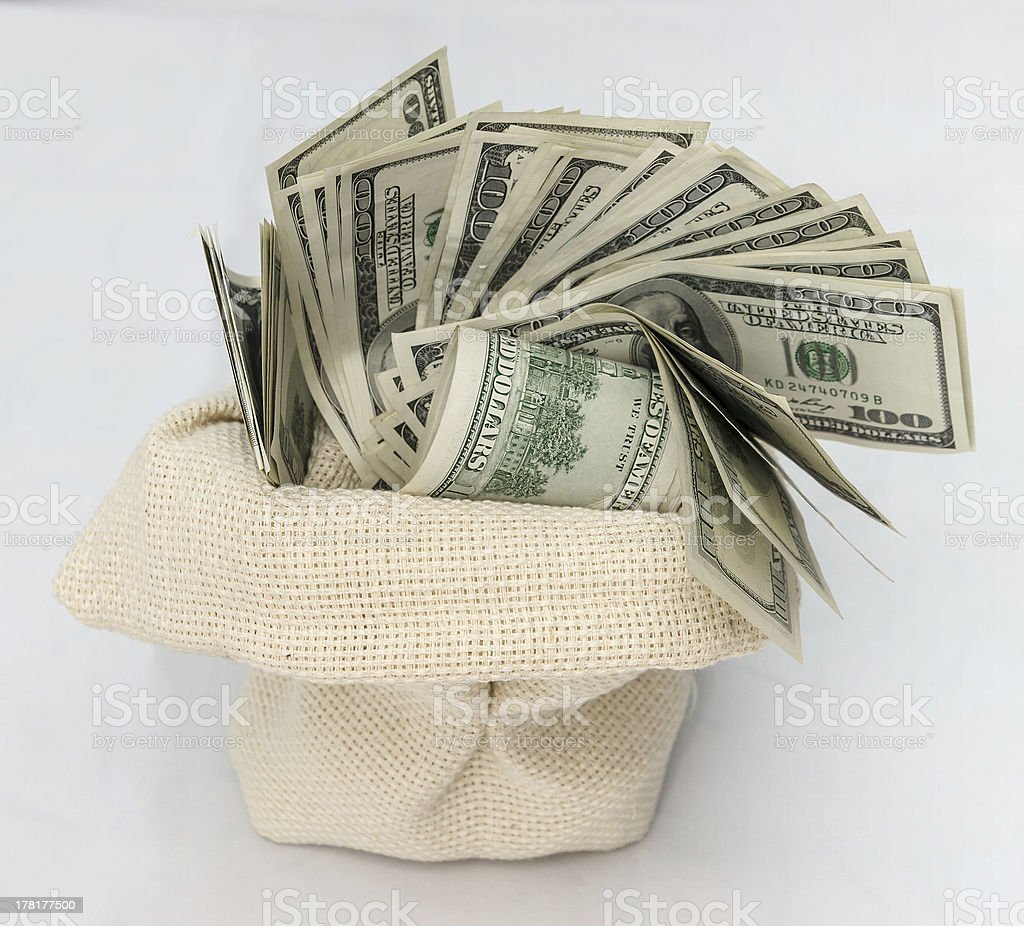 Money in the bag isolated on a white background royalty-free stock photo