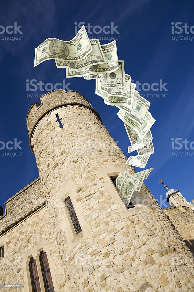 Money in the fortress stock photo
