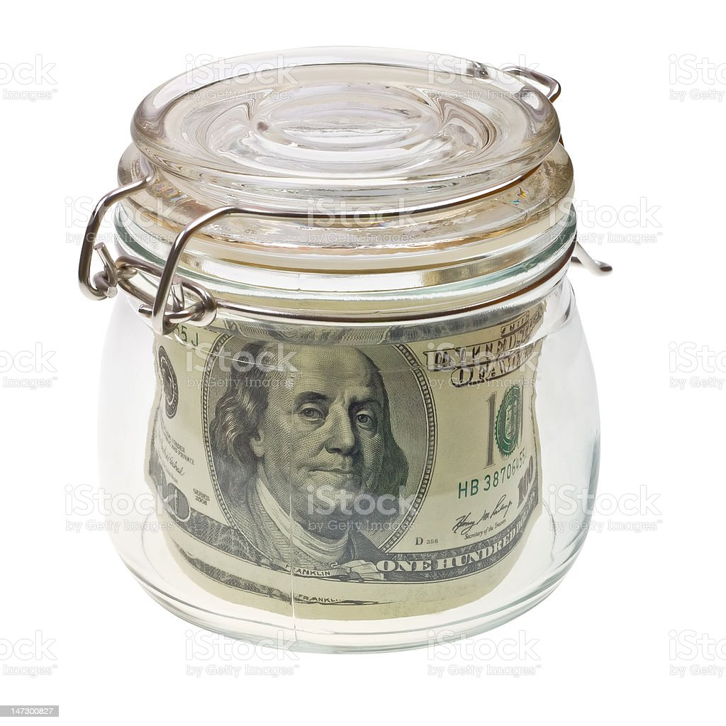 Money in the glass jar isolated on white royalty-free stock photo
