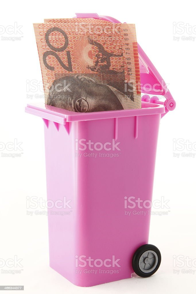 Money in the Trash royalty-free stock photo