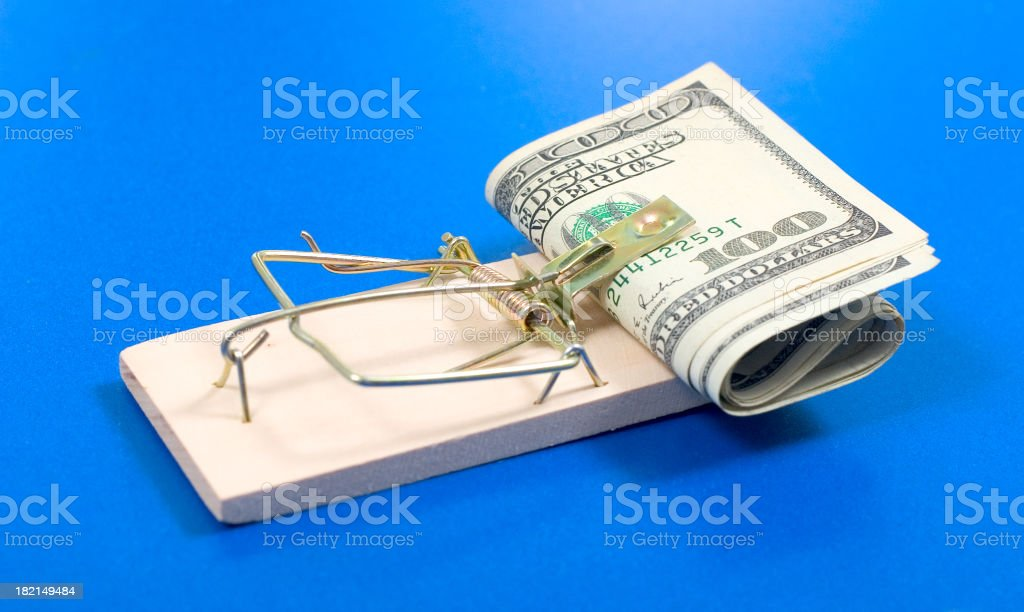 Money in trap stock photo