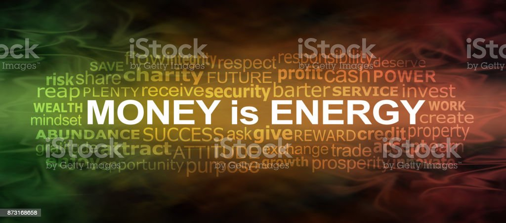 Money IS energy Word Cloud Banner stock photo